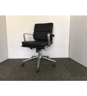 Black Leather Pad Back Operator Chair