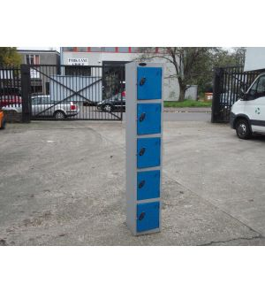 Blue - Grey Single 5 Door Lockers