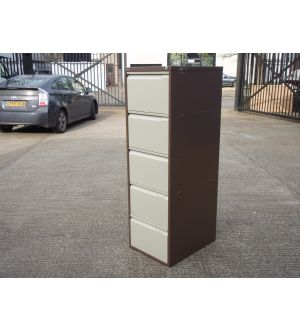 Bisley Coffee & Cream 5 Drawer Filing Cabinet