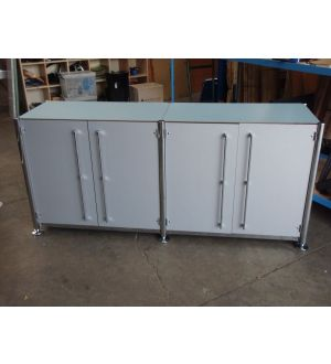Blue and Chrome 4 Door Credenza