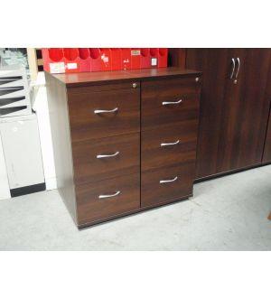 Dark Walnut 3 Drawer Filing Cabinet