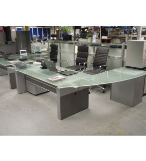 Executive Glass Top Desk with Return & Pedestal