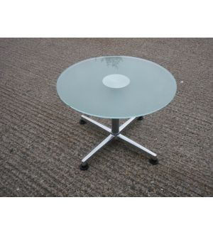 Glass Pedestal Base Coffee Table