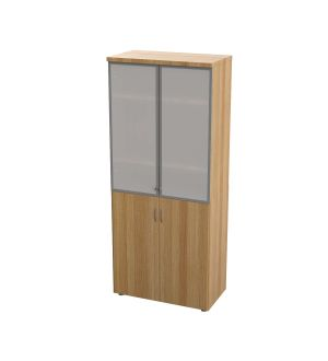 Crown High Storage Cabinet With Glass Doors