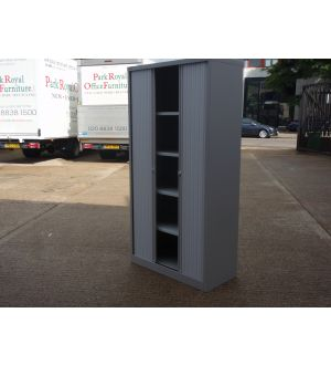 Grey Bisley Tambour Storage Cabinet 1950 x 1000