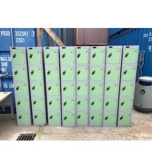 Grey & Light Green 5 Door Compartment Lockers