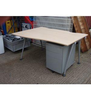 Herman Miller Maple 1400 Wave Desk & Pedestal