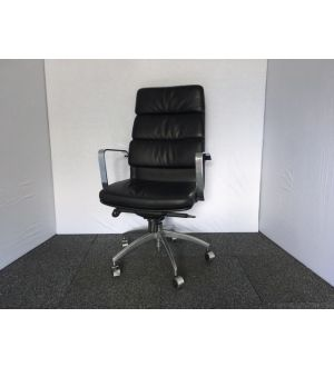 Black High Back Leather Padded Desk Chair