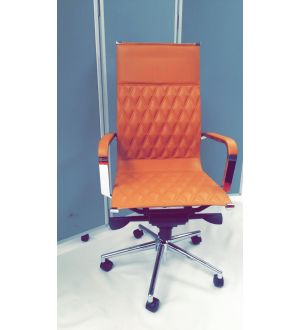 Leather PU and Chrome High Back Chair
