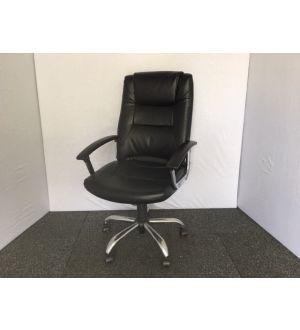 Black Leather & Chrome Executive Desk Chair