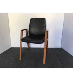 Black Leather & Wooden Frame Meeting Chair