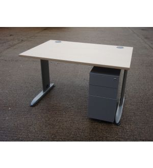 Maple 1200 x 800 Desk and Slimline Pedestal