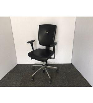 Senator Sprint Black Leather Operator Chair