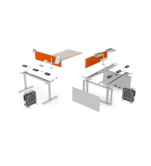 Sit and Stand Double Desk System