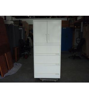 Light Grey 2 Door 3 Drawer Storage Cabinet