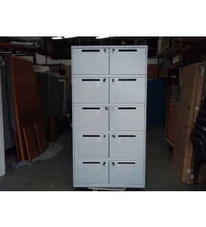 Light Grey 10 Door Post- Cabinet with Keys