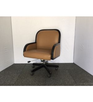 Tan Leather Desk Chair with Black Frame