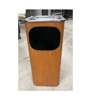 Wooden Bin With Silver Top