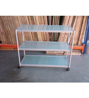 Grey Glass 3 Tier Trolley