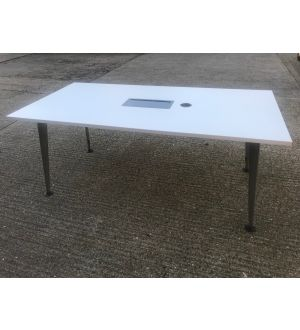 White 1800x900 Cable Managed Meeting Table
