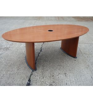 Walnut Oval Twin Pedestal Boardroom Table