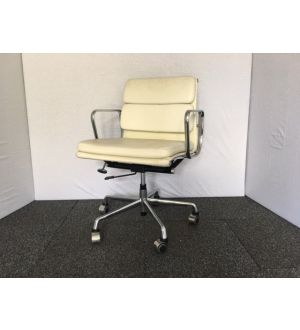 White Leather Pad Back Operator Chair (Classic Style)