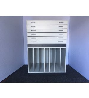 White Pigeon Hole Unit with Plan Chest
